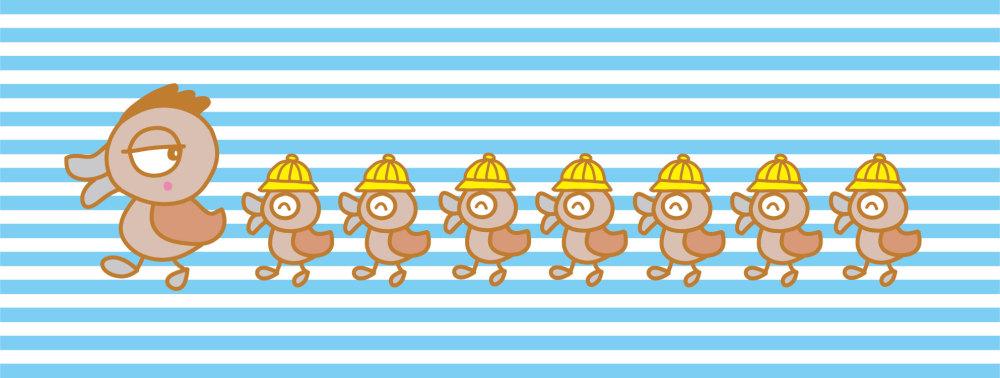 鳥のキャラクター(カルガモ)