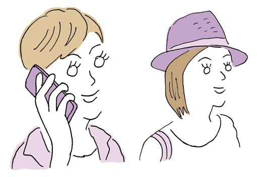 スマホで会話する女性イラスト